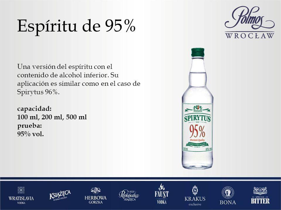 Espíritu de 95% Una versión del espíritu con el contenido de alcohol inferior. Su aplicación es similar como en el caso de Spirytus 96%. capacidad: 10