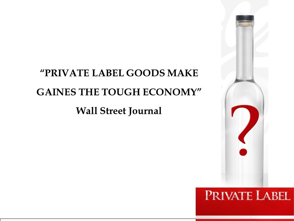 PRIVATE LABEL GOODS MAKE GAINES THE TOUGH ECONOMY Wall Street Journal