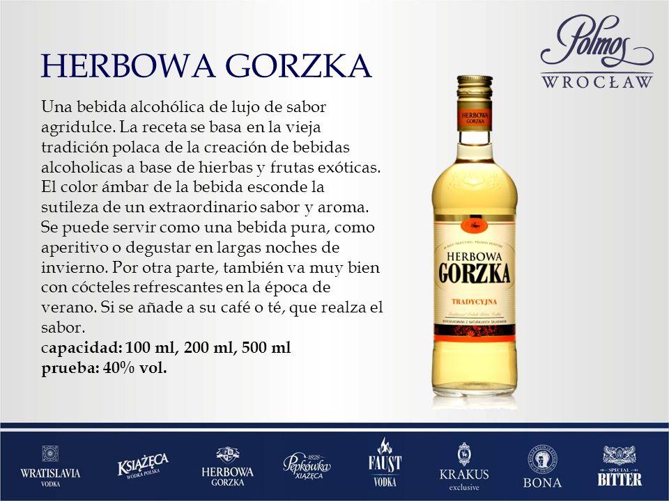 HERBOWA GORZKA Una bebida alcohólica de lujo de sabor agridulce. La receta se basa en la vieja tradición polaca de la creación de bebidas alcoholicas