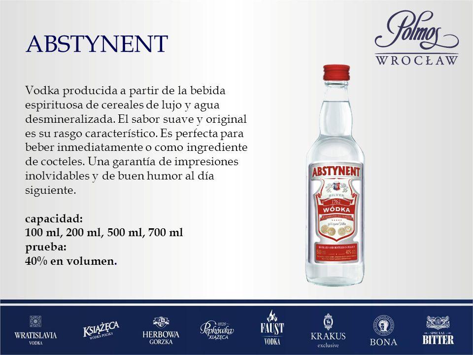 ABSTYNENT Vodka producida a partir de la bebida espirituosa de cereales de lujo y agua desmineralizada. El sabor suave y original es su rasgo caracter