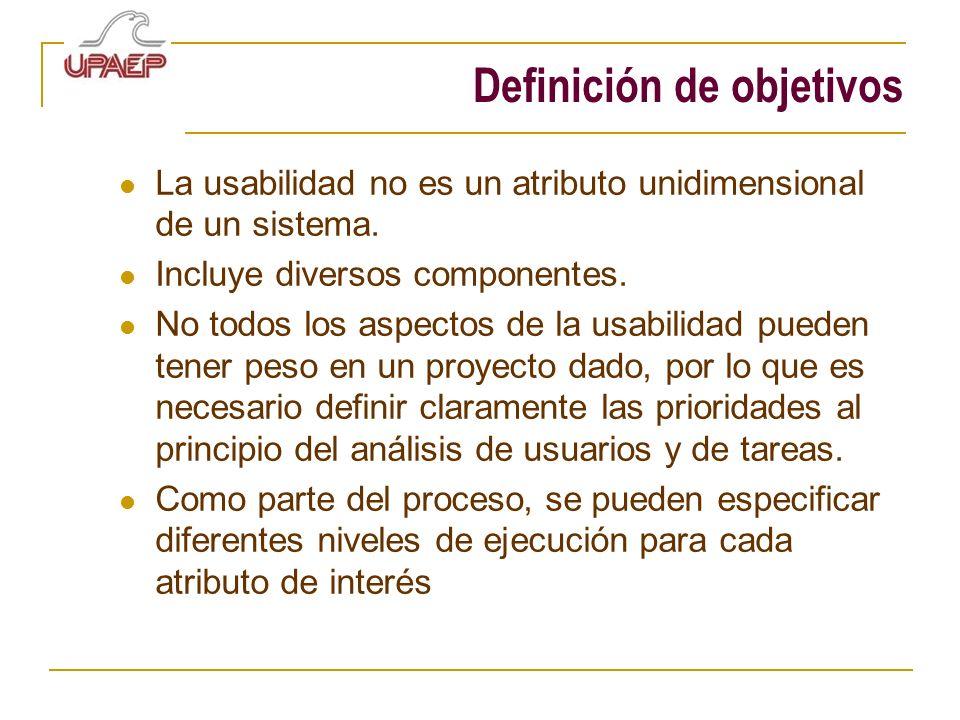 Definición de objetivos La usabilidad no es un atributo unidimensional de un sistema. Incluye diversos componentes. No todos los aspectos de la usabil