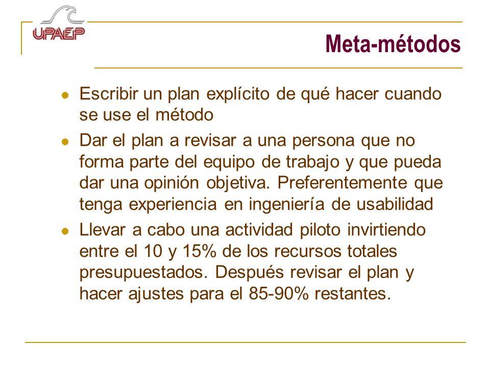 Meta-métodos Escribir un plan explícito de qué hacer cuando se use el método Dar el plan a revisar a una persona que no forma parte del equipo de trab
