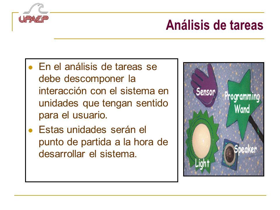 Análisis de tareas En el análisis de tareas se debe descomponer la interacción con el sistema en unidades que tengan sentido para el usuario. Estas un