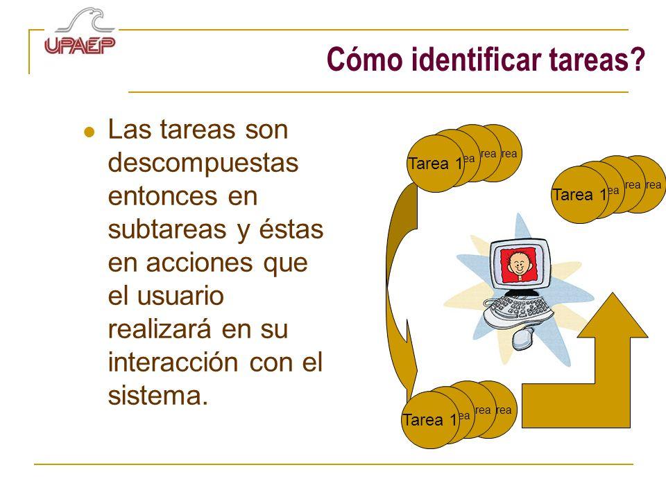 Cómo identificar tareas? Las tareas son descompuestas entonces en subtareas y éstas en acciones que el usuario realizará en su interacción con el sist