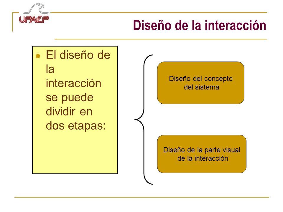 Diseño de la interacción El diseño de la interacción se puede dividir en dos etapas: Diseño del concepto del sistema Diseño de la parte visual de la i