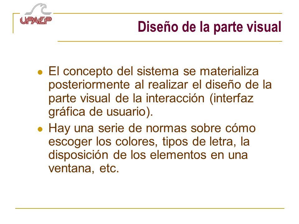 Diseño de la parte visual El concepto del sistema se materializa posteriormente al realizar el diseño de la parte visual de la interacción (interfaz g
