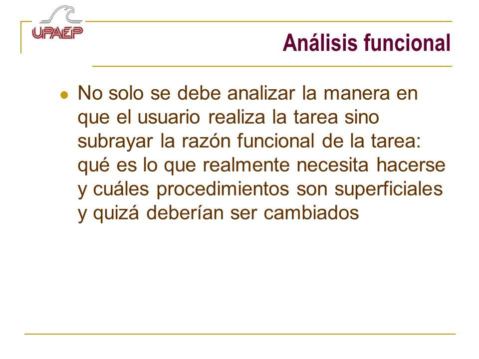 Análisis funcional No solo se debe analizar la manera en que el usuario realiza la tarea sino subrayar la razón funcional de la tarea: qué es lo que r