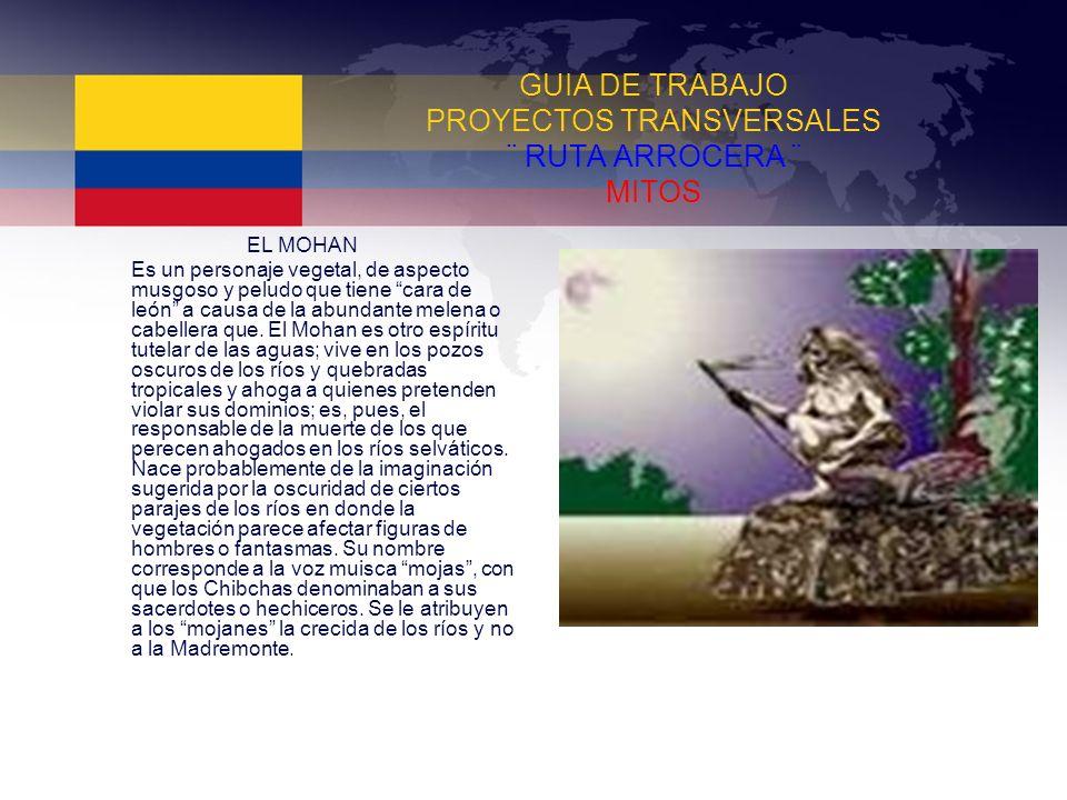 GUIA DE TRABAJO PROYECTOS TRANSVERSALES ¨ RUTA ARROCERA ¨ MITOS EL MOHAN Es un personaje vegetal, de aspecto musgoso y peludo que tiene cara de león a