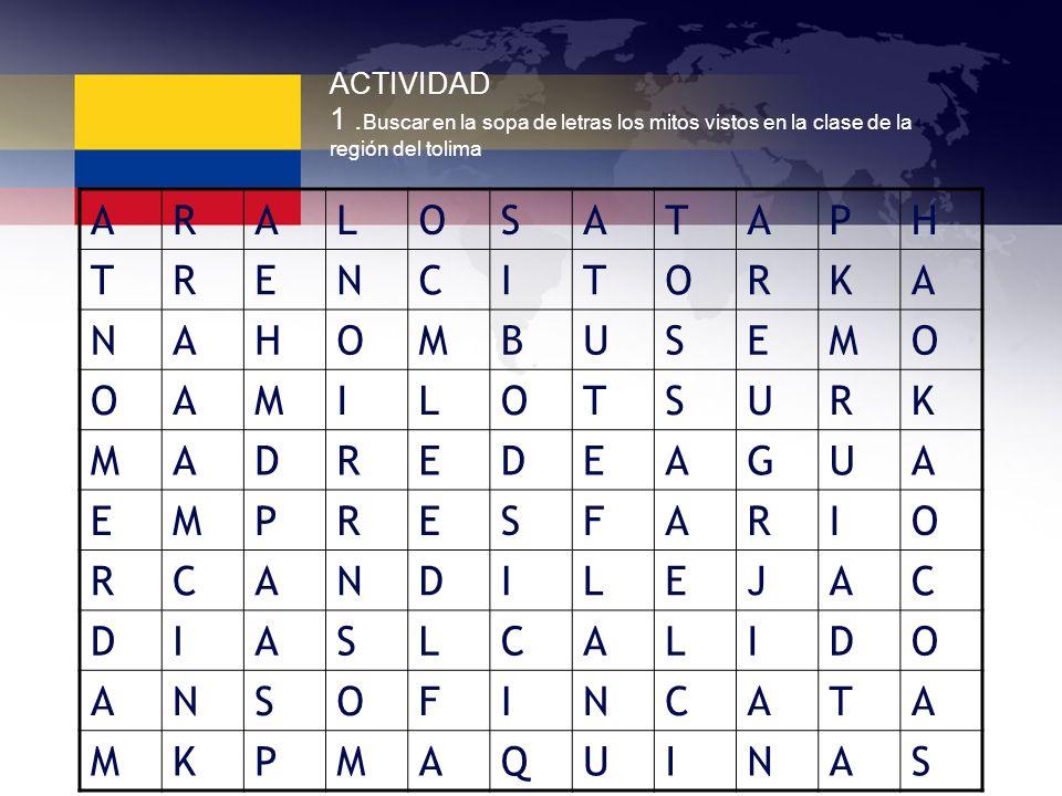 ACTIVIDAD 1. Buscar en la sopa de letras los mitos vistos en la clase de la región del tolima ARALOSATAPH TRENCITORKA NAHOMBUSEMO OAMILOTSURK MADREDEA