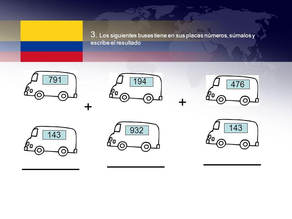 3. Los siguientes buses tiene en sus placas números, súmalos y escribe el resultado 791 143 932 143 476 194 + +
