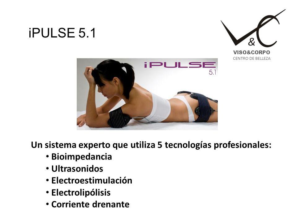 iPULSE 5.1 Un sistema experto que utiliza 5 tecnologías profesionales: Bioimpedancia Ultrasonidos Electroestimulación Electrolipólisis Corriente drena