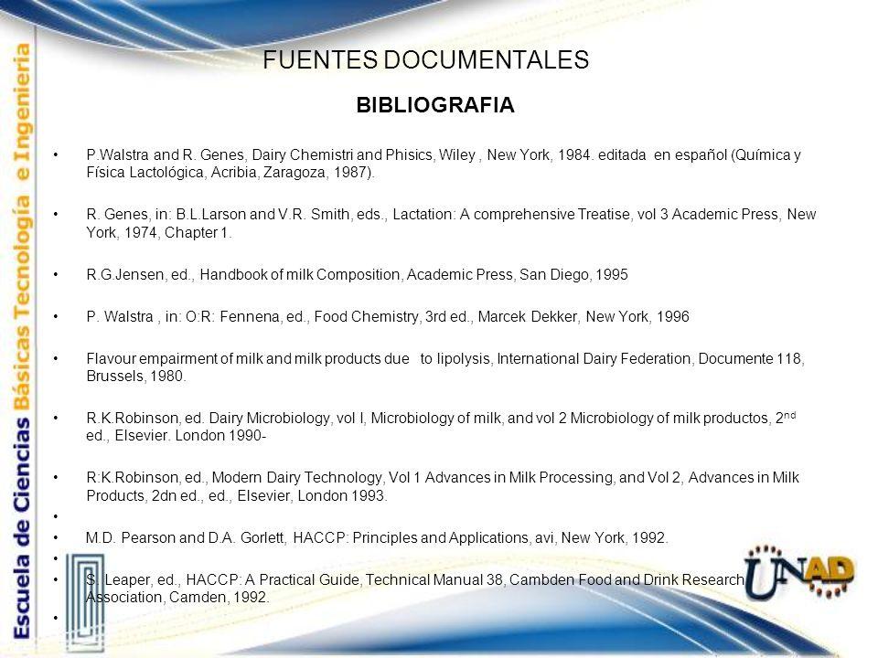 FUENTES DOCUMENTALES BIBLIOGRAFIA P.Walstra and R. Genes, Dairy Chemistri and Phisics, Wiley, New York, 1984. editada en español (Química y Física Lac