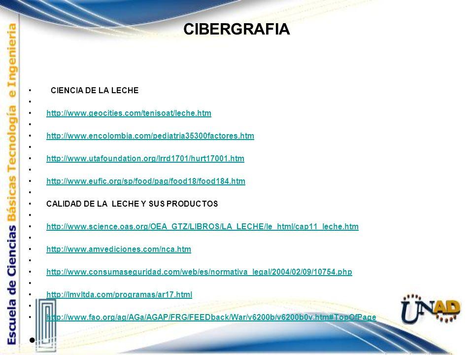 CIBERGRAFIA CIENCIA DE LA LECHE http://www.geocities.com/tenisoat/leche.htm http://www.encolombia.com/pediatria35300factores.htm http://www.utafoundat