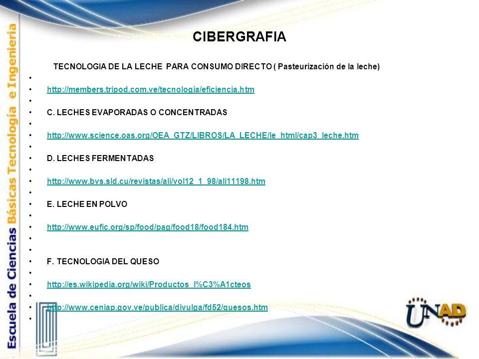 CIBERGRAFIA TECNOLOGIA DE LA LECHE PARA CONSUMO DIRECTO ( Pasteurización de la leche) http://members.tripod.com.ve/tecnologia/eficiencia.htm C. LECHES