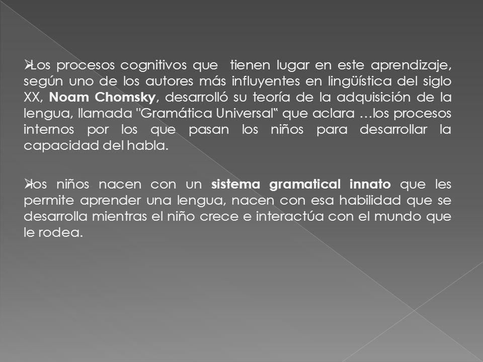 Los procesos cognitivos que tienen lugar en este aprendizaje, según uno de los autores más influyentes en lingüística del siglo XX, Noam Chomsky, desarrolló su teoría de la adquisición de la lengua, llamada Gramática Universal que aclara …los procesos internos por los que pasan los niños para desarrollar la capacidad del habla.