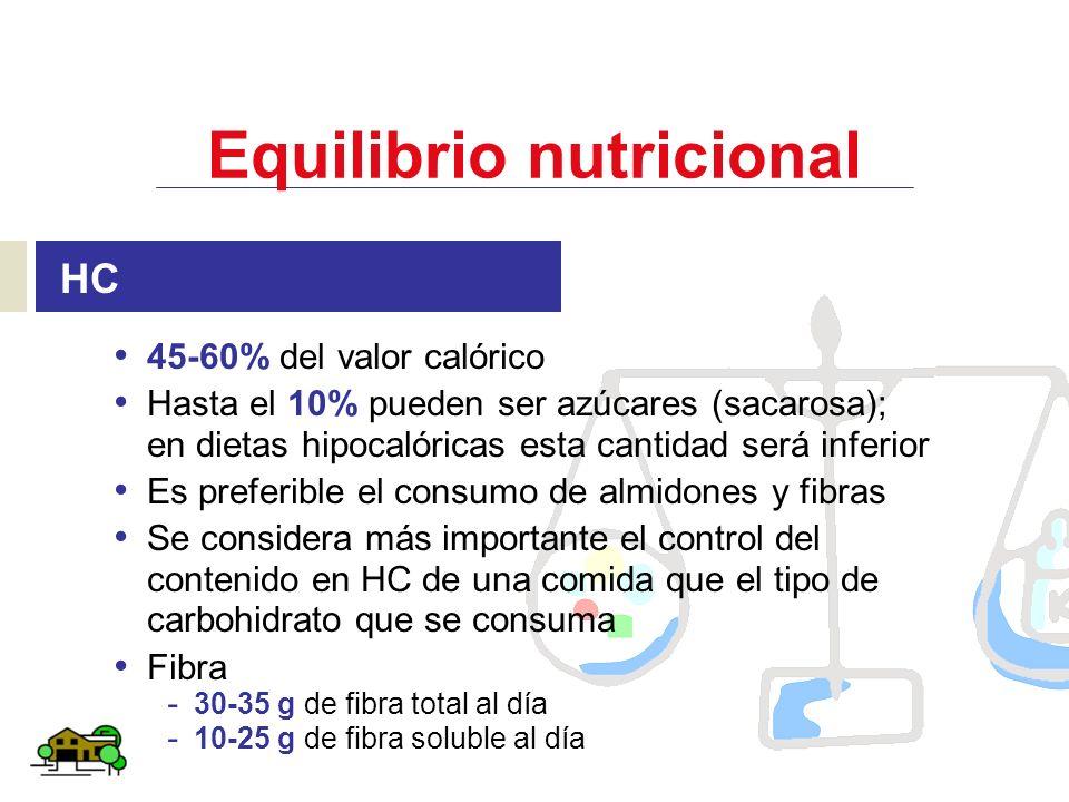 Equilibrio nutricional HC 45-60% del valor calórico Hasta el 10% pueden ser azúcares (sacarosa); en dietas hipocalóricas esta cantidad será inferior E