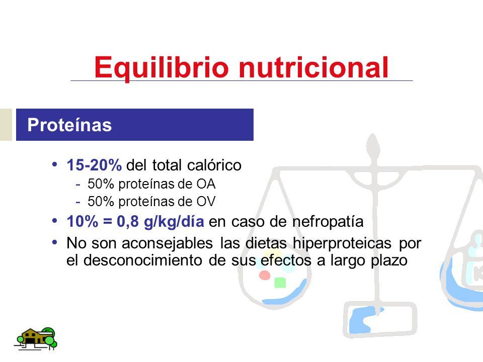 Equilibrio nutricional Proteínas 15-20% del total calórico - 50% proteínas de OA - 50% proteínas de OV 10% = 0,8 g/kg/día en caso de nefropatía No son