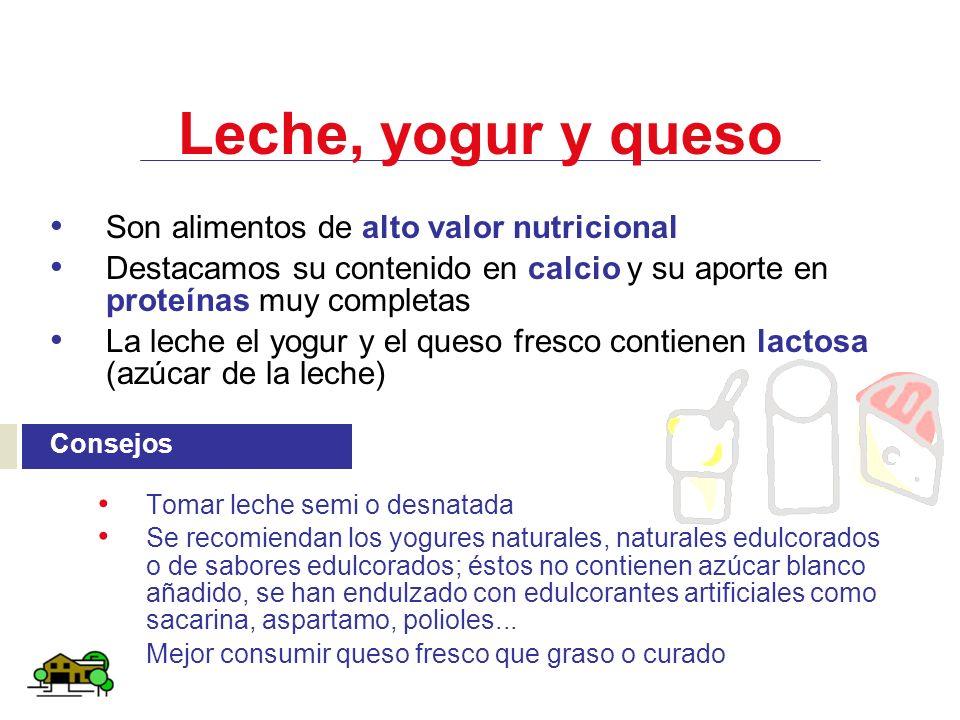 Leche, yogur y queso Son alimentos de alto valor nutricional Destacamos su contenido en calcio y su aporte en proteínas muy completas La leche el yogu