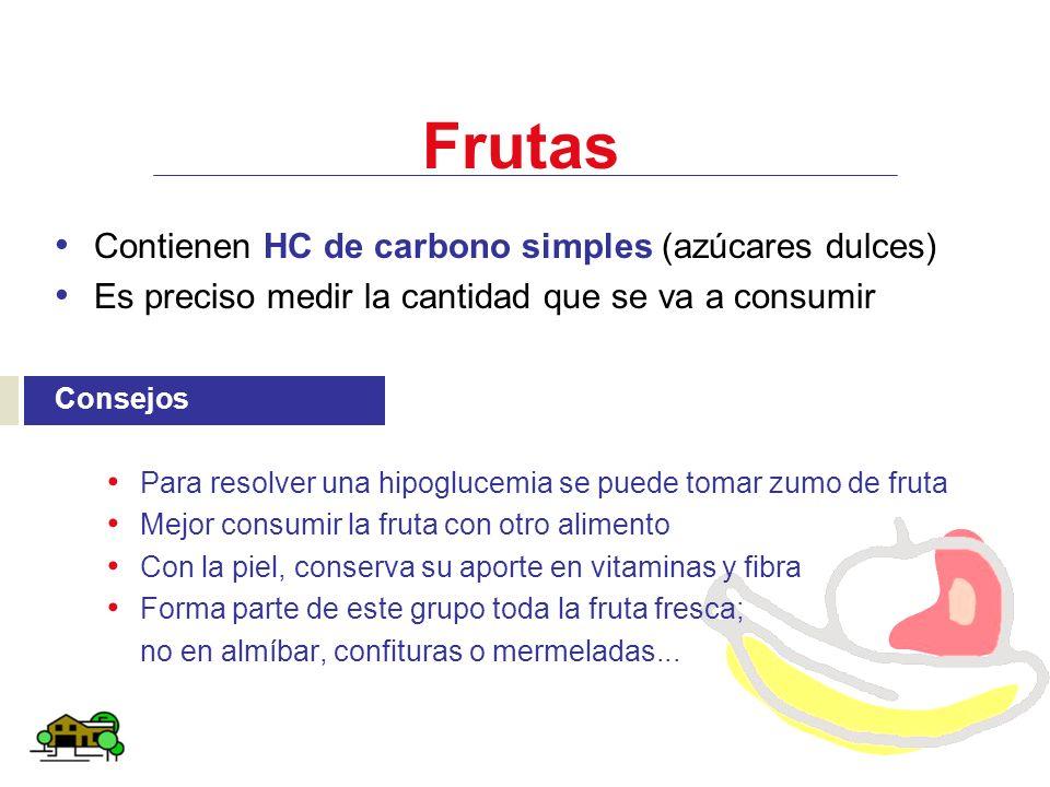 Frutas Contienen HC de carbono simples (azúcares dulces) Es preciso medir la cantidad que se va a consumir Consejos Para resolver una hipoglucemia se