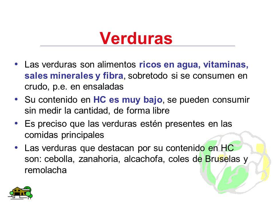 Verduras Las verduras son alimentos ricos en agua, vitaminas, sales minerales y fibra, sobretodo si se consumen en crudo, p.e. en ensaladas Su conteni