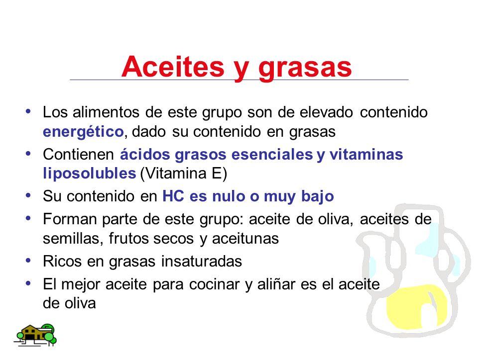 Aceites y grasas Los alimentos de este grupo son de elevado contenido energético, dado su contenido en grasas Contienen ácidos grasos esenciales y vit