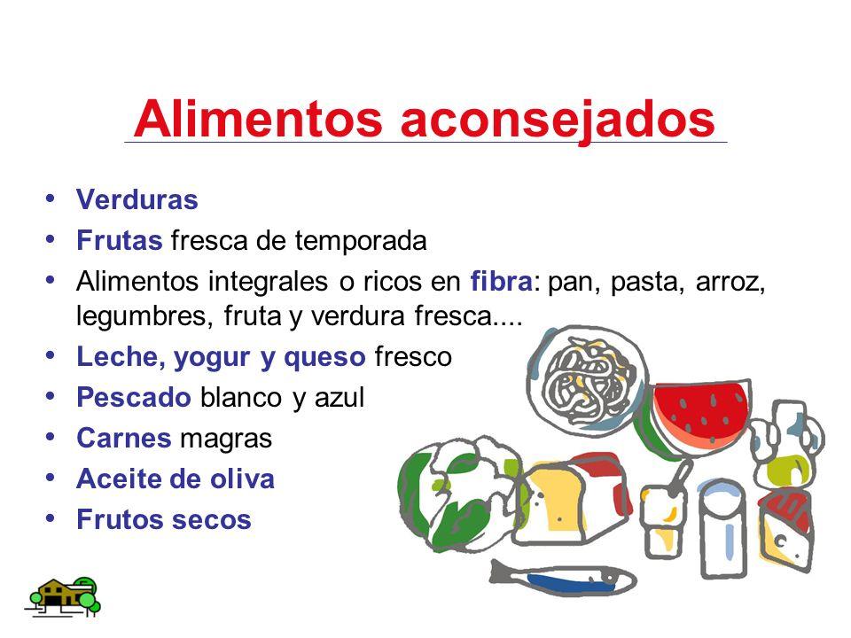 Alimentos aconsejados Verduras Frutas fresca de temporada Alimentos integrales o ricos en fibra: pan, pasta, arroz, legumbres, fruta y verdura fresca.