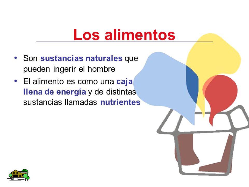 Los alimentos Son sustancias naturales que pueden ingerir el hombre El alimento es como una caja llena de energía y de distintas sustancias llamadas n