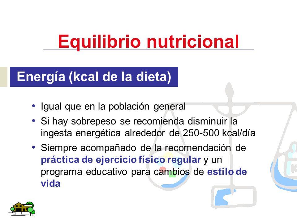 Equilibrio nutricional Energía (kcal de la dieta) Igual que en la población general Si hay sobrepeso se recomienda disminuir la ingesta energética alr