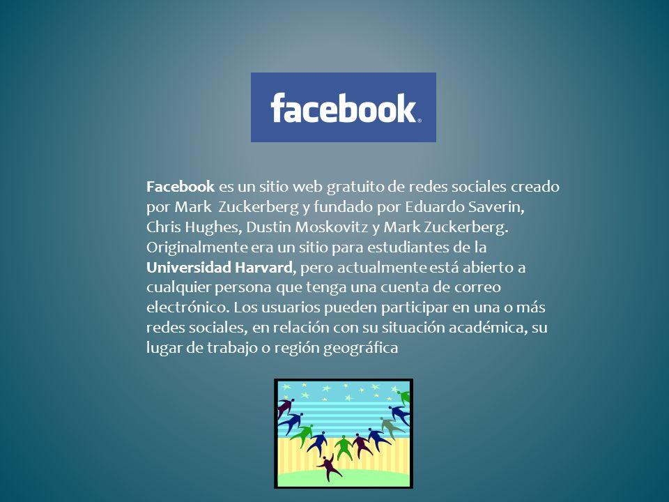 Facebook es un sitio web gratuito de redes sociales creado por Mark Zuckerberg y fundado por Eduardo Saverin, Chris Hughes, Dustin Moskovitz y Mark Zu