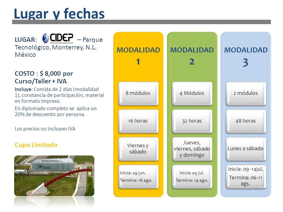 LUGAR: – Parque Tecnológico, Monterrey, N.L. México COSTO : $ 8,000 por Curso/Taller + IVA Incluye: Comida de 2 días (modalidad 1), constancia de part