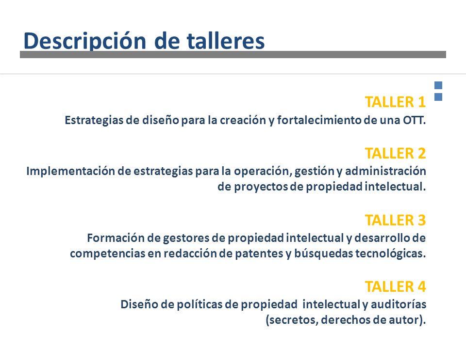 TALLER 1 Estrategias de diseño para la creación y fortalecimiento de una OTT. TALLER 2 Implementación de estrategias para la operación, gestión y admi