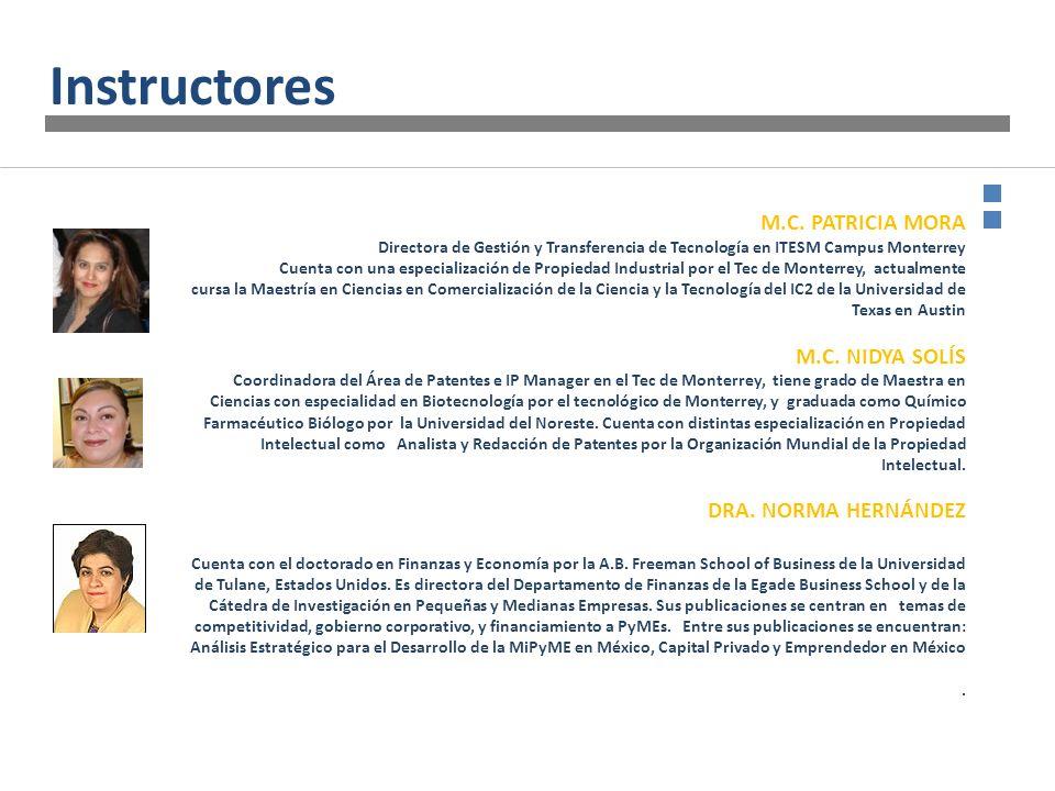 M.C. PATRICIA MORA Directora de Gestión y Transferencia de Tecnología en ITESM Campus Monterrey Cuenta con una especialización de Propiedad Industrial