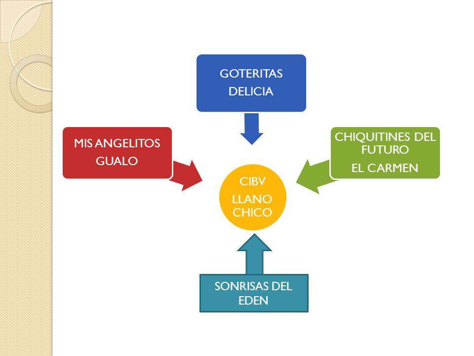 CIBV LLANO CHICO MIS ANGELITOS GUALO GOTERITAS DELICIA CHIQUITINES DEL FUTURO EL CARMEN SONRISAS DEL EDEN