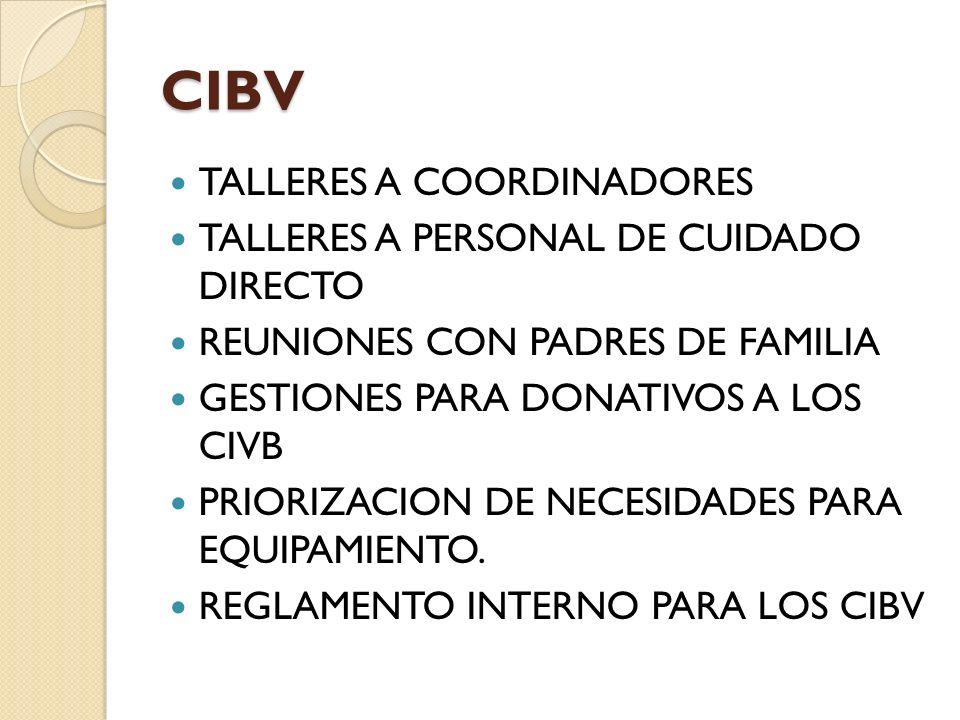 CIBV TALLERES A COORDINADORES TALLERES A PERSONAL DE CUIDADO DIRECTO REUNIONES CON PADRES DE FAMILIA GESTIONES PARA DONATIVOS A LOS CIVB PRIORIZACION DE NECESIDADES PARA EQUIPAMIENTO.
