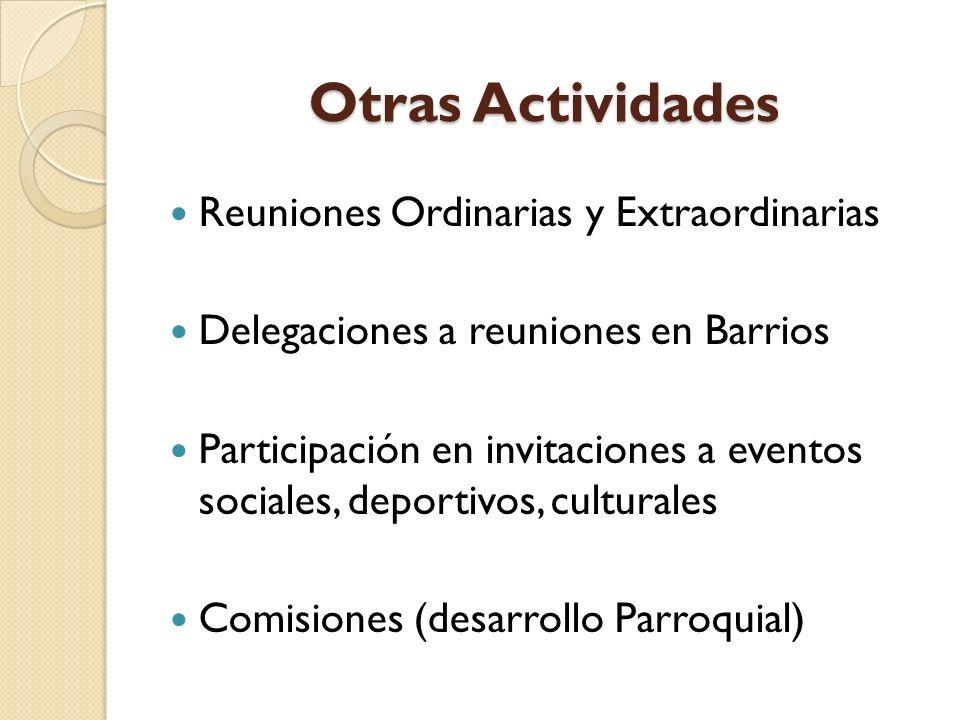 Otras Actividades Reuniones Ordinarias y Extraordinarias Delegaciones a reuniones en Barrios Participación en invitaciones a eventos sociales, deportivos, culturales Comisiones (desarrollo Parroquial)