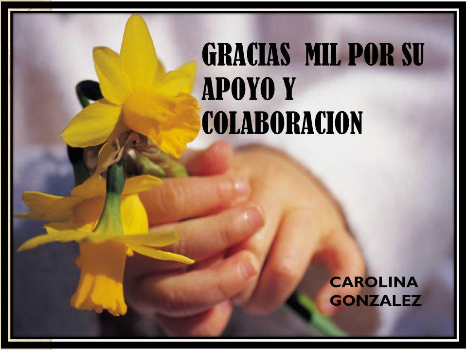 GRACIAS MIL POR SU APOYO Y COLABORACION CAROLINA GONZALEZ
