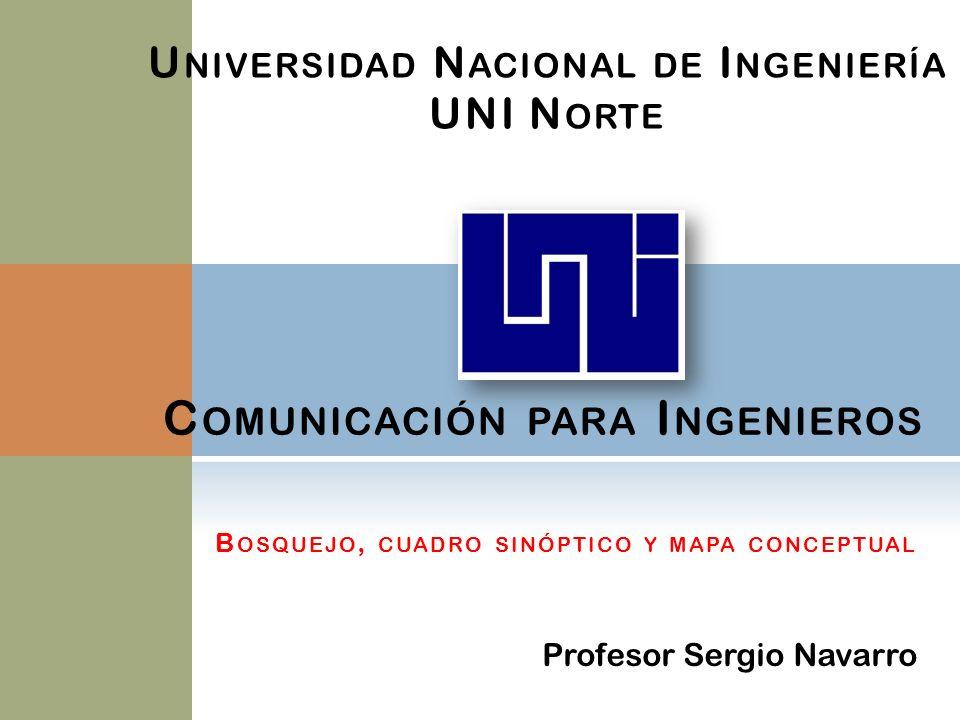 C OMUNICACIÓN PARA I NGENIEROS U NIVERSIDAD N ACIONAL DE I NGENIERÍA UNI N ORTE Profesor Sergio Navarro B OSQUEJO, CUADRO SINÓPTICO Y MAPA CONCEPTUAL