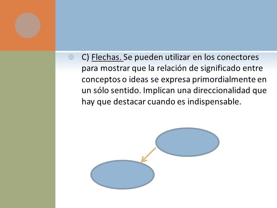 C) Flechas. Se pueden utilizar en los conectores para mostrar que la relación de significado entre conceptos o ideas se expresa primordialmente en un