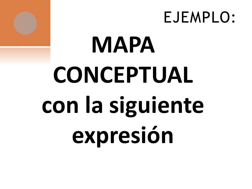 MAPA CONCEPTUAL con la siguiente expresión EJEMPLO: