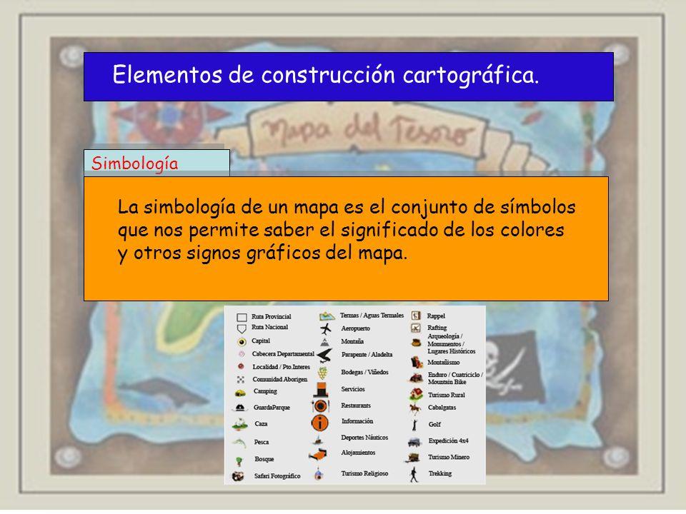 Simbología Elementos de construcción cartográfica. La simbología de un mapa es el conjunto de símbolos que nos permite saber el significado de los col