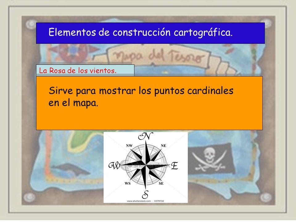 Elementos de construcción cartográfica. La Rosa de los vientos. Sirve para mostrar los puntos cardinales en el mapa.