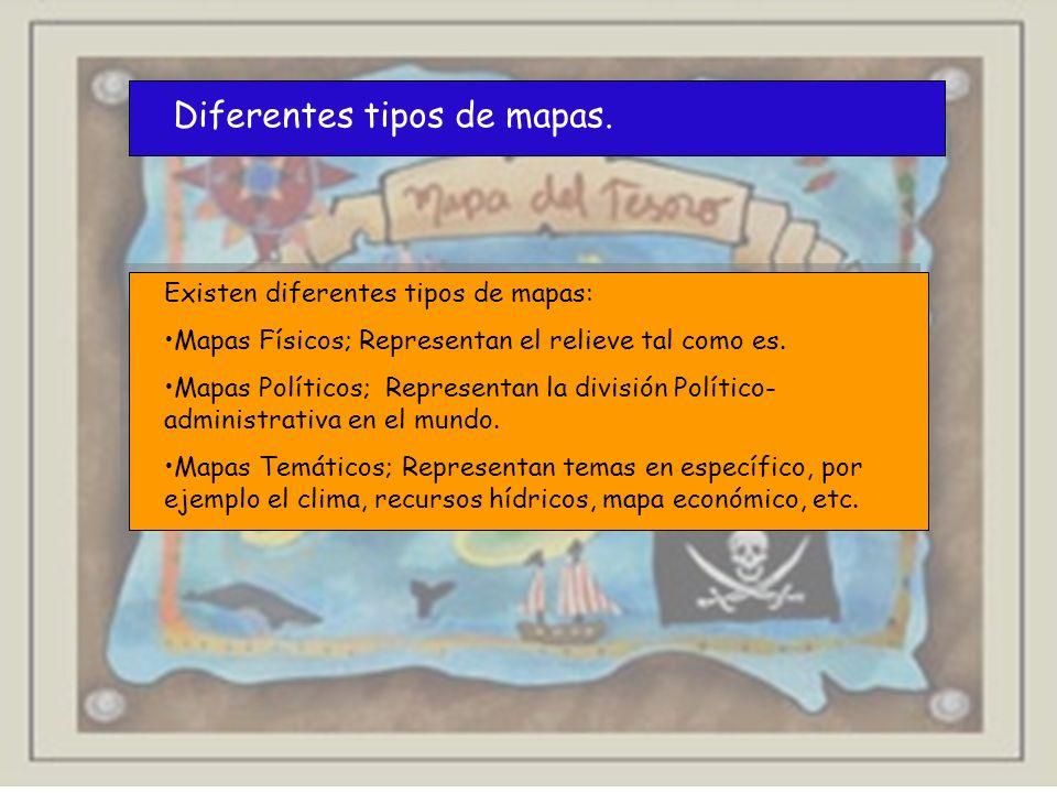 Diferentes tipos de mapas. Existen diferentes tipos de mapas: Mapas Físicos; Representan el relieve tal como es. Mapas Políticos; Representan la divis
