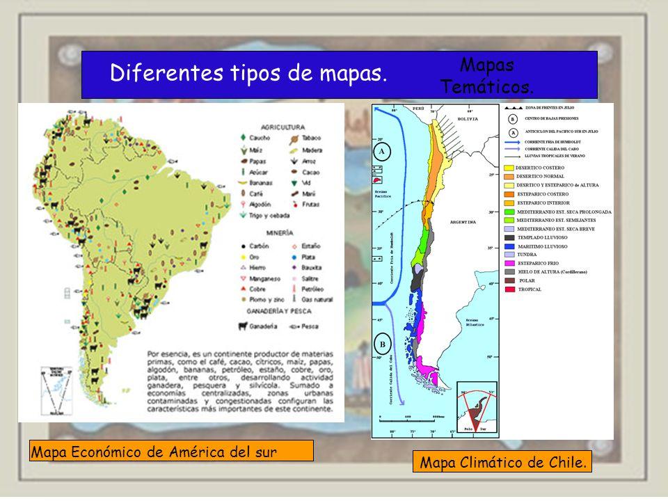 Diferentes tipos de mapas. Mapas Temáticos. Mapa Económico de América del sur Mapa Climático de Chile.