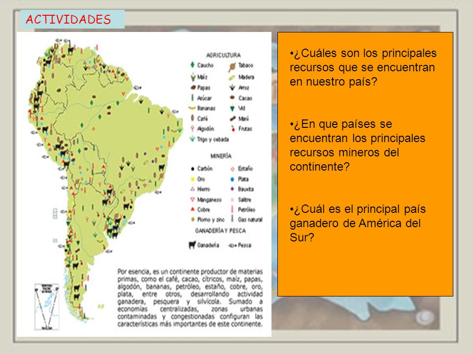 ACTIVIDADES ¿Cuáles son los principales recursos que se encuentran en nuestro país? ¿En que países se encuentran los principales recursos mineros del