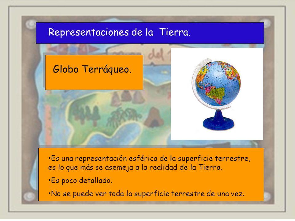 Representaciones de la Tierra. Globo Terráqueo. Es una representación esférica de la superficie terrestre, es lo que más se asemeja a la realidad de l