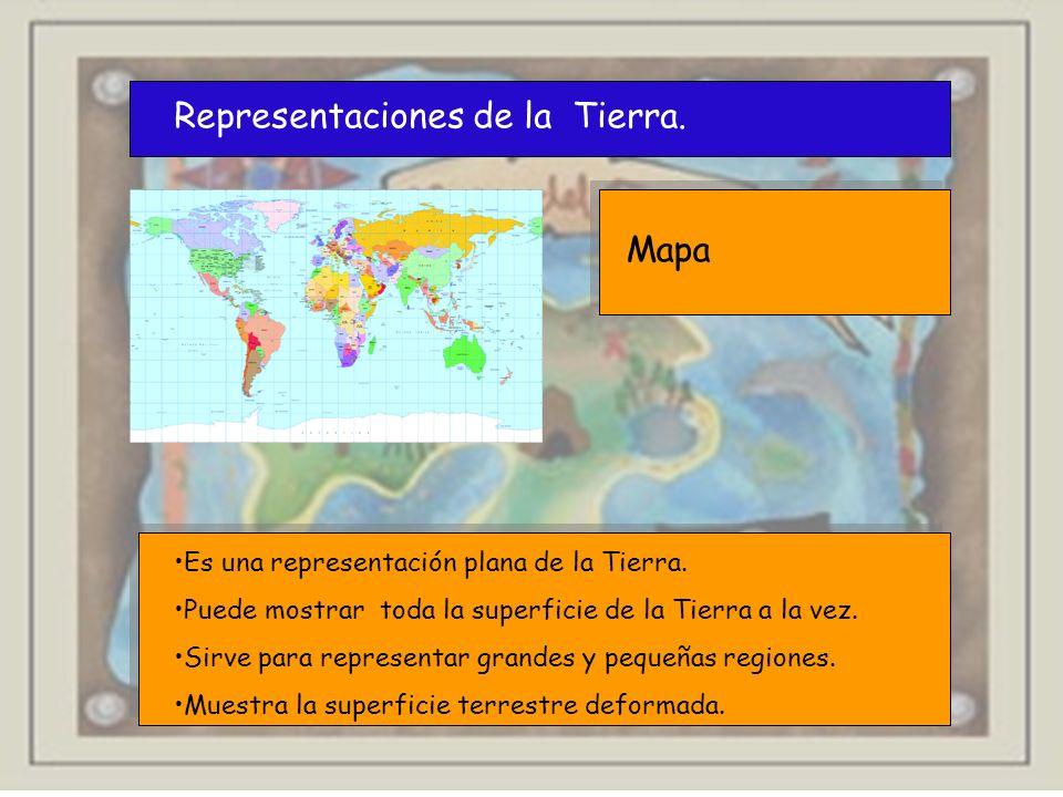 Representaciones de la Tierra. Mapa Es una representación plana de la Tierra. Puede mostrar toda la superficie de la Tierra a la vez. Sirve para repre