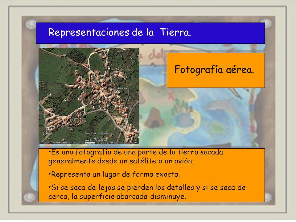 Representaciones de la Tierra. Fotografía aérea. Es una fotografía de una parte de la tierra sacada generalmente desde un satélite o un avión. Represe