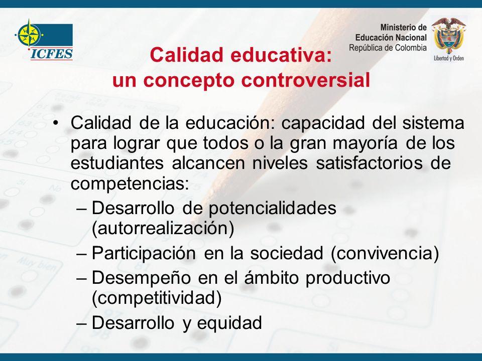 Calidad educativa: un concepto controversial Calidad de la educación: capacidad del sistema para lograr que todos o la gran mayoría de los estudiantes