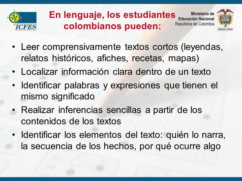 En lenguaje, los estudiantes colombianos pueden: Leer comprensivamente textos cortos (leyendas, relatos históricos, afiches, recetas, mapas) Localizar