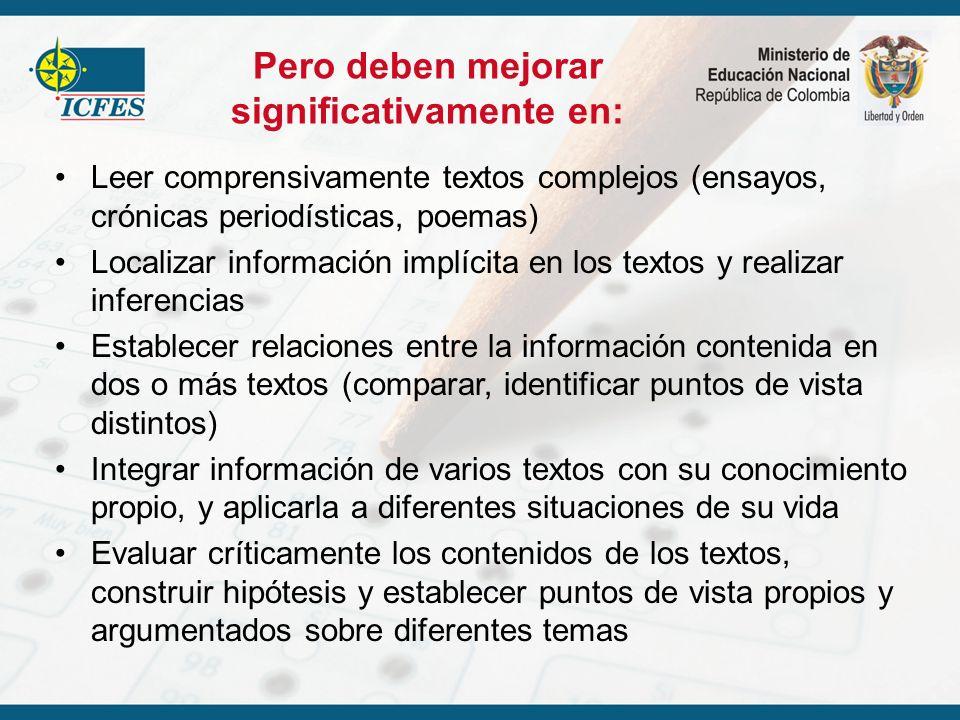 Pero deben mejorar significativamente en: Leer comprensivamente textos complejos (ensayos, crónicas periodísticas, poemas) Localizar información implí